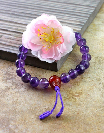 Jewelry,Tibetan Style Default Stretchy Amethyst and Carnelian Wrist Mala wm0121