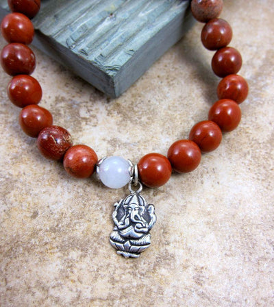 Jewelry,Under 35 Dollars,Tibetan Style Default Red Jasper and Silver Ganesh Wrist Mala wm095