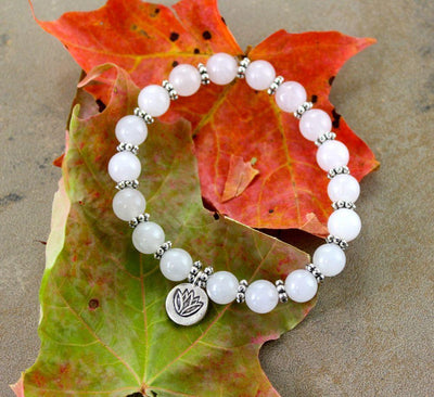 Jewelry,Under 35 Dollars,Tibetan Style Small (fits wrists up to 6 1/2 inches) White Tara Lotus Wrist Mala wm148small