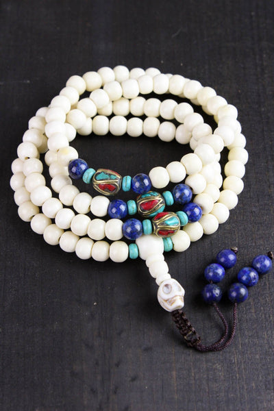 Mala Beads 108 Bead Yak Bone Mala with Lapis and Traditional Tibetan Beads ML530