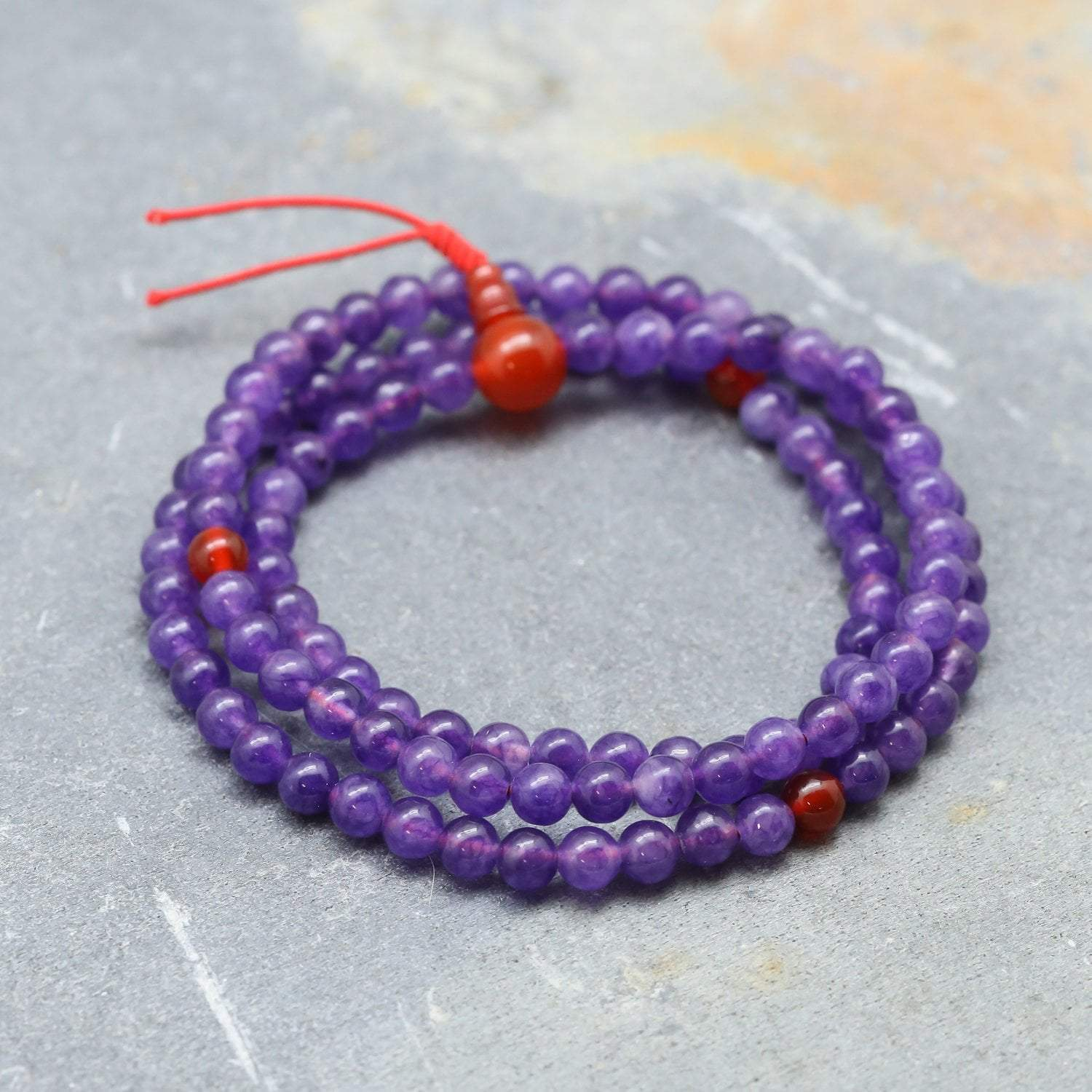 Mala Beads Amethyst and Carnelian 108 Mala ML615