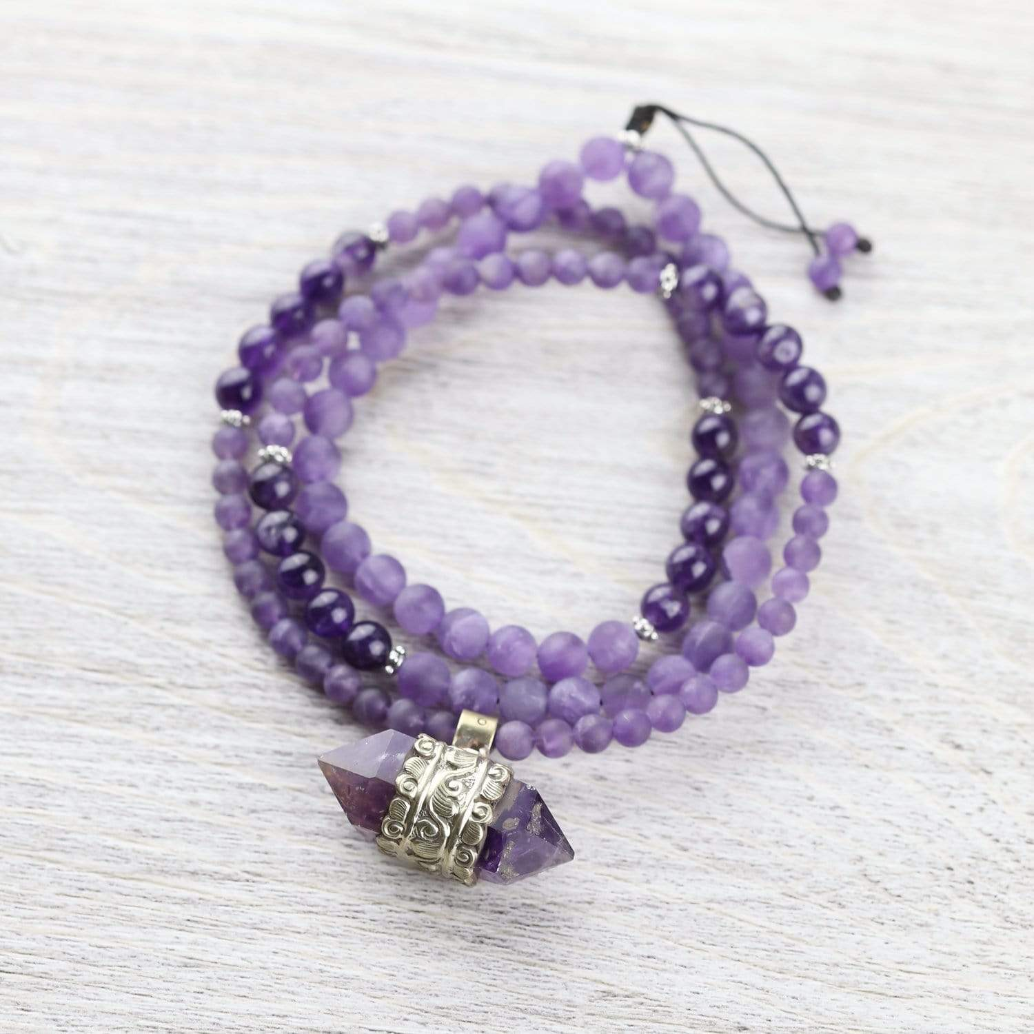Amethyst Hexagonal Gemstone Mala ML730