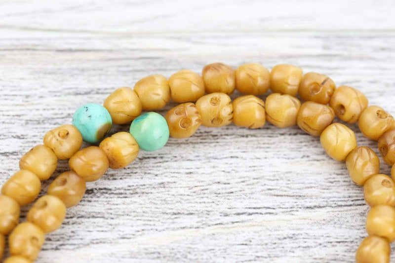 Mala Beads Antique Hand Carved Skull Mala ML751