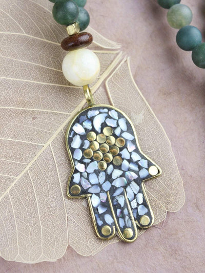 Mala Beads Auspicious Hamsa and Moss Agate Necklace ML570