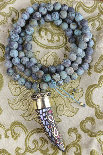 Mala Beads Awaken the Soul Necklace with African Turquoise ML499