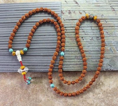 Mala Beads Default 108 Bead Rudraksha and Vintage Beads Mala ml157