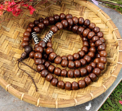 Mala Beads Default Bodhi Seed Mala with dZi Spacers ml035