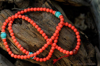 Mala Beads Default Coral Colored Granite Mala with Spacers ml119
