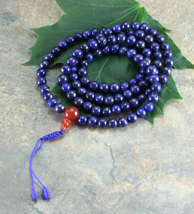 Mala Beads Default Deep Blue Lapis 108 Bead Tibetan Mala ml178