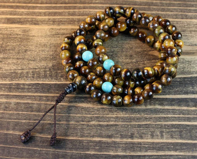 Mala Beads Default Finest Quality Tiger Eye Mala with Turquoise ml109