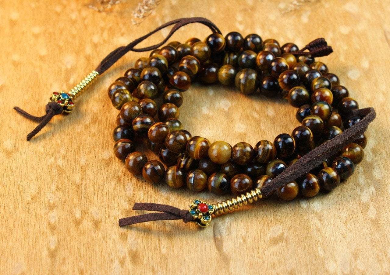 Mala Beads Default Grounding Tiger Eye Mala with Jeweled Counters ml441