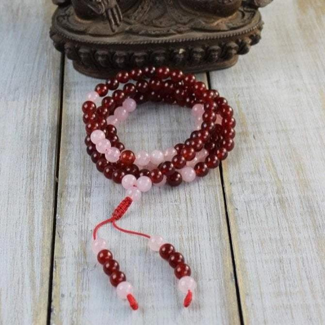 Mala Beads Default Heart of Peace Carnelian and Rose Quartz Mala ml493