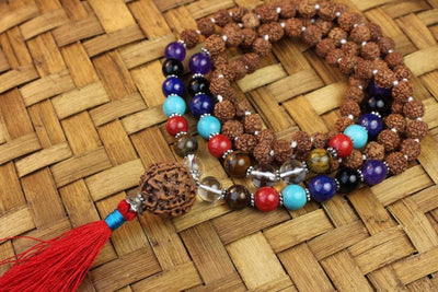 Mala Beads Default Knotted Rudraksha Chakra Mala Ml491
