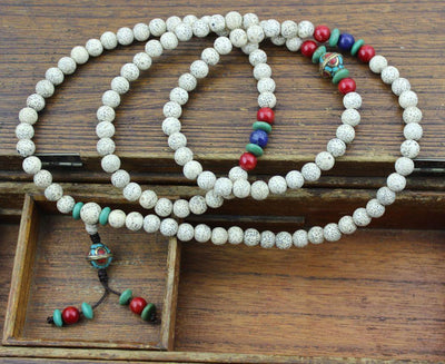 Mala Beads Default Lotus Seed With Lapis and Vintage Beads Mala ml136