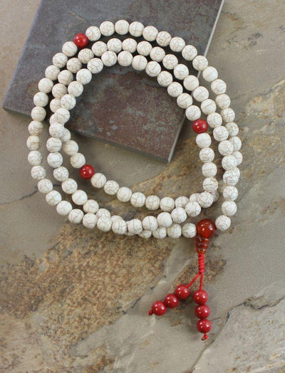 Mala Beads Default Magnesite, Coral and Carnelian Mala ml104