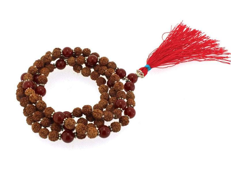 Mala Beads Default Natural Rudraksha Mala with Carnelian ml454