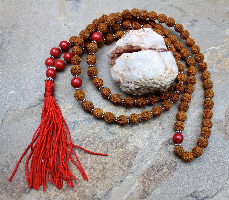 Mala Beads Default Rudraksha and Mountain Jade Bead Mala ml208