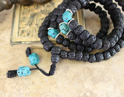 Mala Beads Default Rudraksha and Turquoise 108 Bead Mala ml116