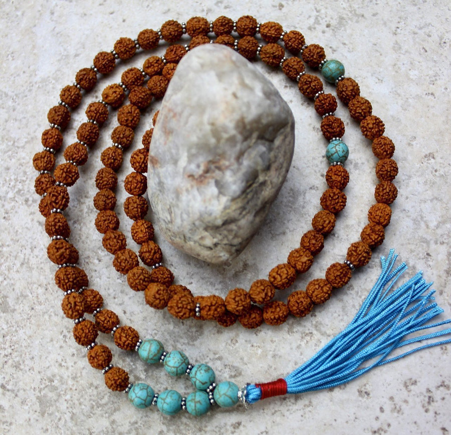 Mala Beads Default Rudraksha and Turquoise Bead Mala ml204
