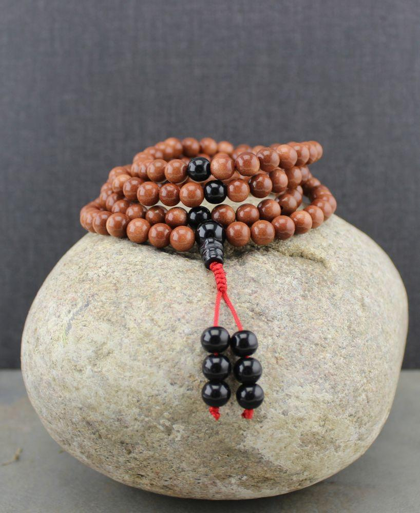 Mala Beads Default Sunstone and Onyx 108 Bead Tibetan Mala ml111
