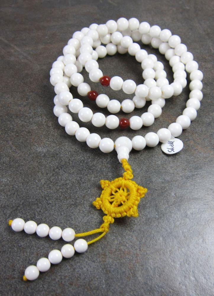 Mala Beads Default Tibetan Naga Shell Dharma Wheel Mala ml171