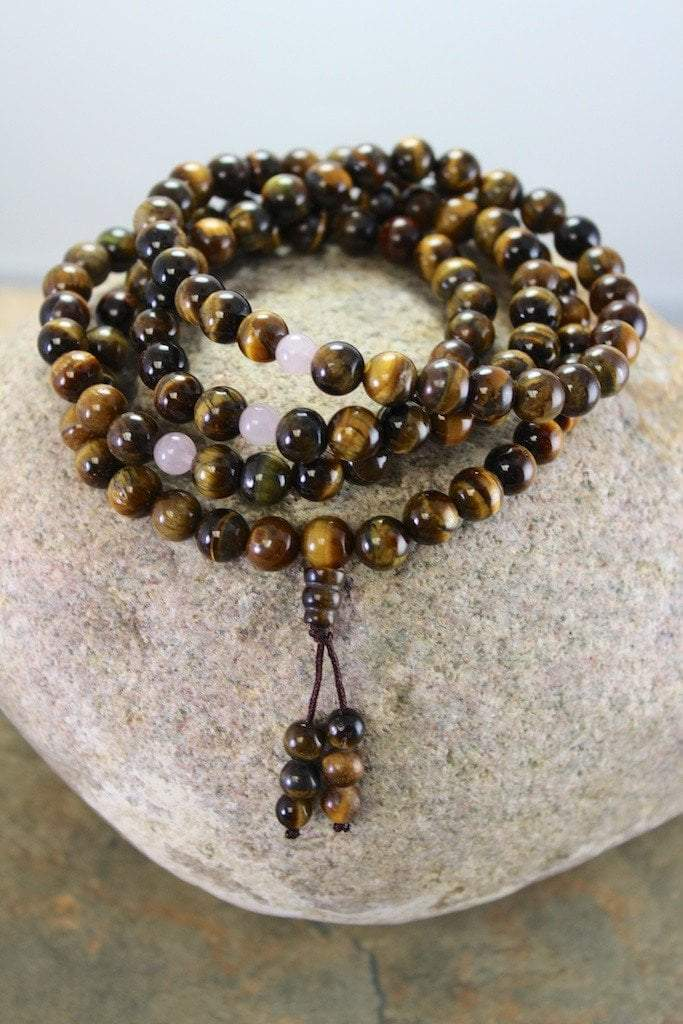 Mala Beads Default Tiger Eye Tibetan Mala With Rose Quartz Spacers ml169