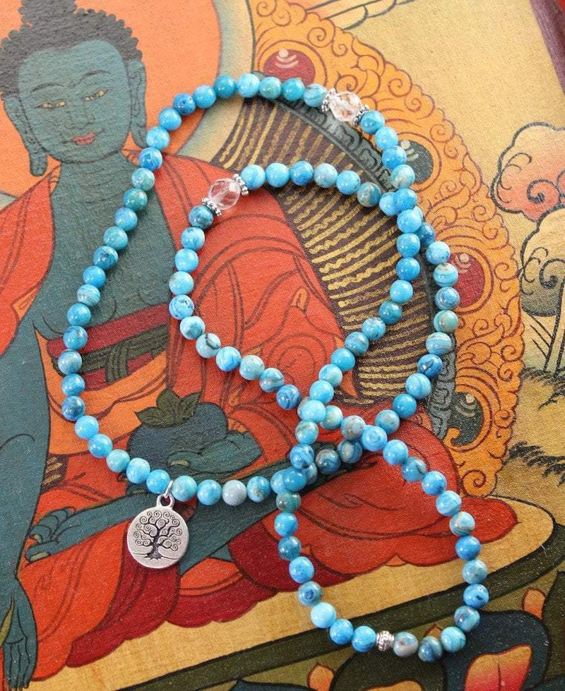 Mala Beads Default Tree of Life Crazy Lace Agate Mala with Crystal Spacers ml211