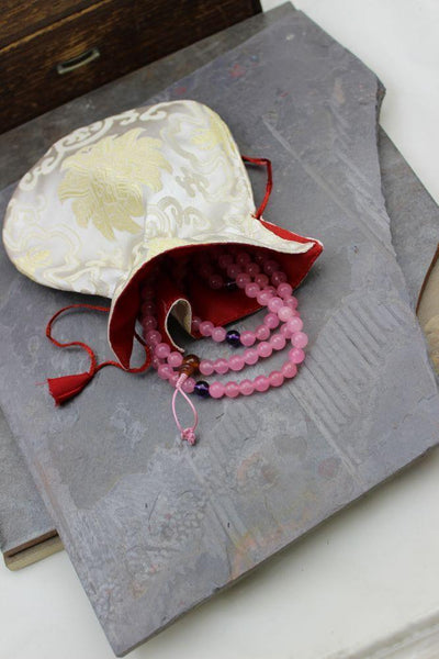 Mala Beads Default Valentine's Mala with White Silk Bag ml139