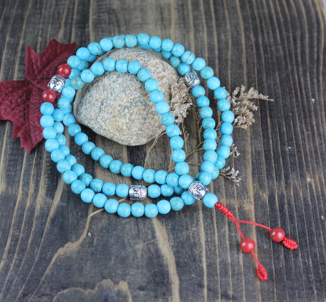 Mala Beads Elevate the Mind Turquoise Buddha Mala ml494