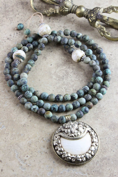 Mala Beads Encouraging African Turquoise Mala with Naga Shell Pendant ML521