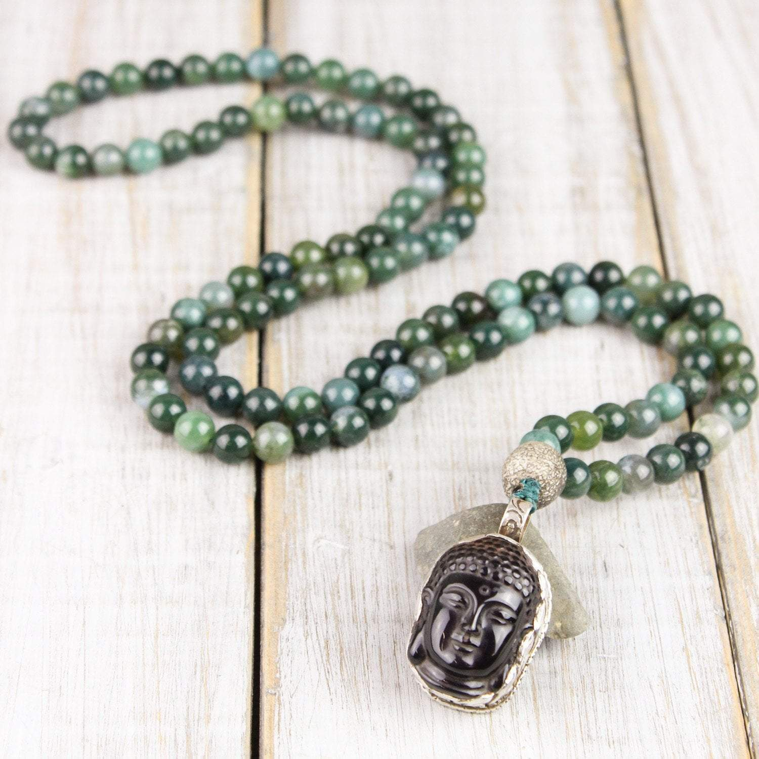 Mala Beads Endurance and Renewal Moss Agate Mala ML538