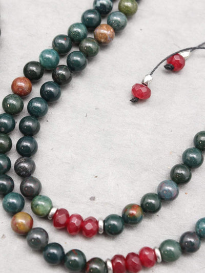 Mala Beads Fancy Jasper and Tibetan Gau Mala ML657