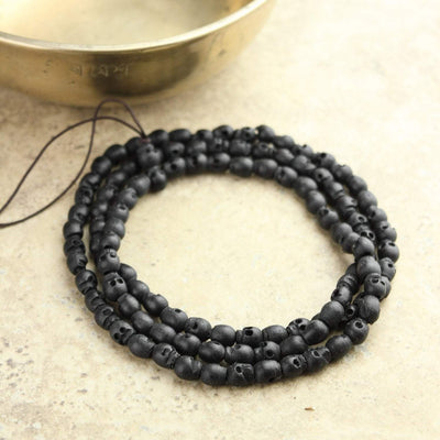 Mala Beads Hand Carved Black Wooden Skull Bead Mala ML566