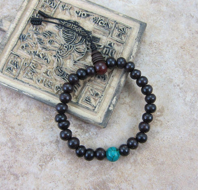 Mala Beads,Jewelry,Under 35 Dollars,Turquoise Default Rosewood and Turquoise Wrist Mala wm055