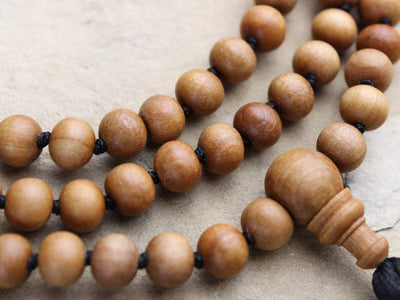 Mala Beads Knotted Natural Wood Bead 108 Mala ML576