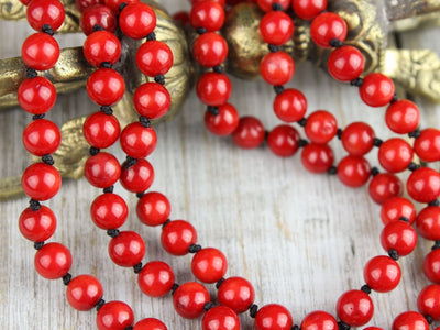 Mala Beads Knotted Red Coral Passion Mala ML545