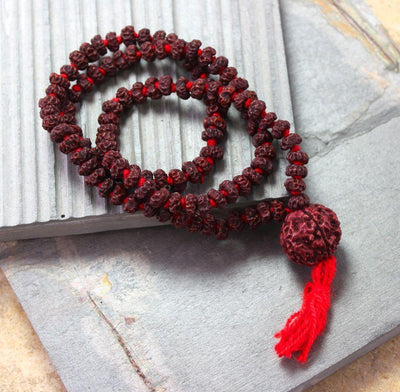 Mala Beads,New Items,Mala of the Day Default Tiny Rudraksha Hand Knotted Mala ml142