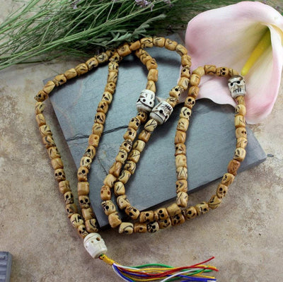 Mala Beads,New Items,Om,Skulls,Tibetan Style,Men's Jewelry Default Skull Bone Mala with 108 Beads and Skull Counters ml148
