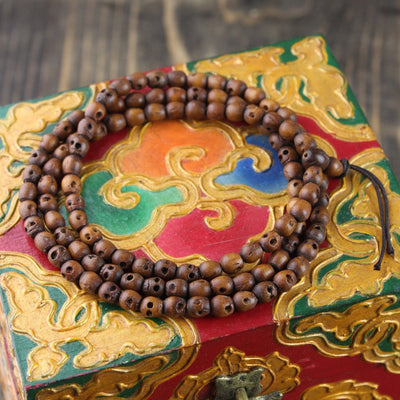 Mala Beads,New Items,Skulls,Tibetan Style,Men's Jewelry Default Tiny Wooden Skull 108 Mala ml059