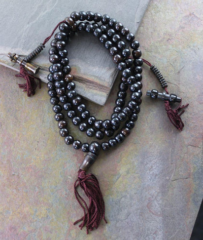 Mala Beads,New Items,Tibetan Style Default Dark Bone 108 Bead Mala With Counters ml127