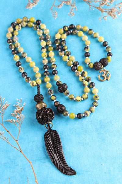 Mala Beads One of a Kind Green Turquoise Bone Feather Mala ML516