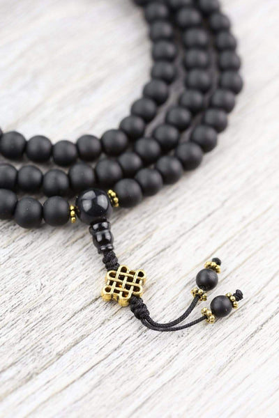 Mala Beads Onyx Eternal Knot Mala ML723