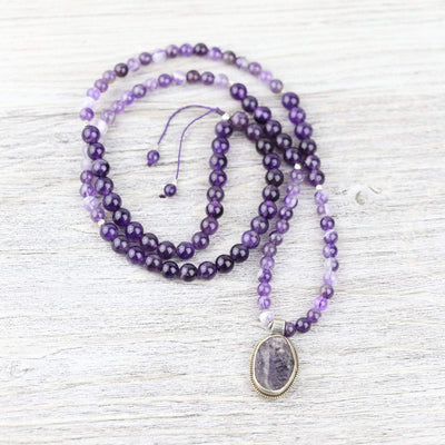 Mala Beads Raw Amethyst Gemstone Mala ML707