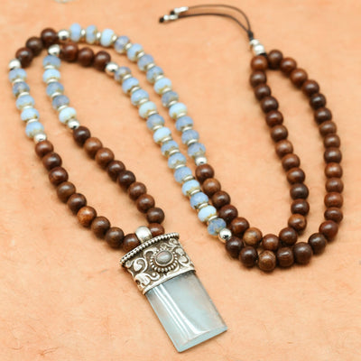 Mala Beads Rosewood and Aquamarine Compassion Mala ML692