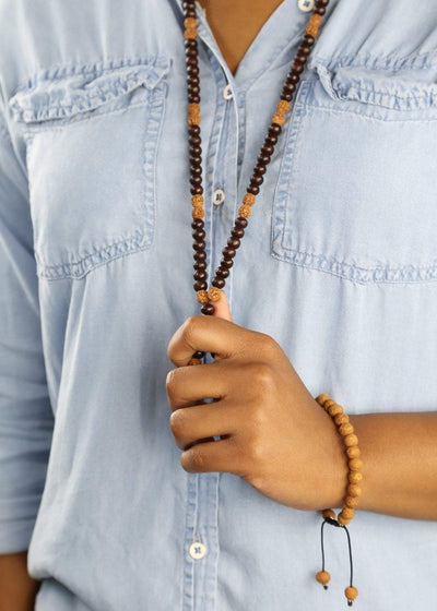 Mala Beads Rosewood and Rudraksha Healing Mala ML574