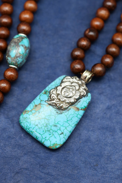 Mala Beads Rosewood and Turquoise Mala ML704