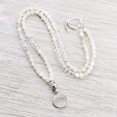 Mala Beads Sacred Geometry Moonstone Mala ML736