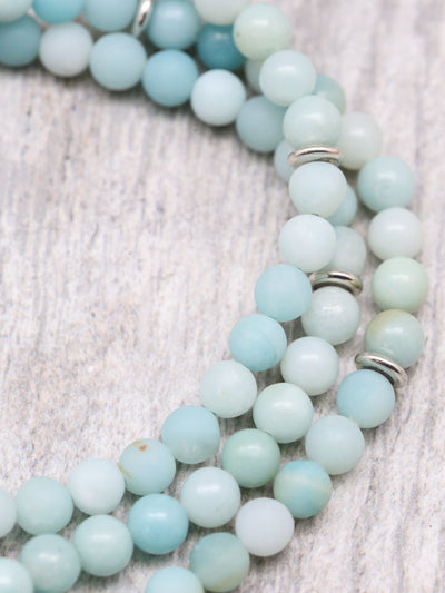 Mala Beads Soothing Sky Blue Amazonite Mala ML659