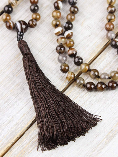 Mala Beads Strengthening Striped Agate Knotted Mala ML555