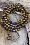 Mala Beads Strengthening Tiger Eye with Lapis 108 Bead Mala ML525